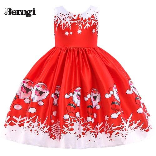 Berngi/новое красивое платье с принтом для девочек; vestidos; платье принцессы Санты для маленьких девочек; рождественские наряды; одежда - Цвет: Style A