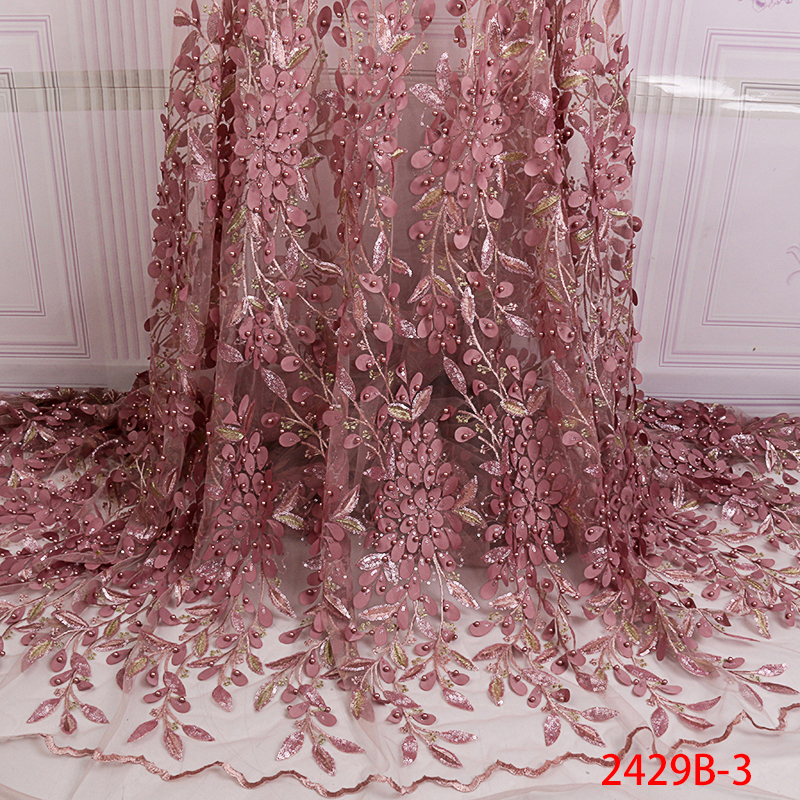 New Style French Net Lace Fabric, African Tulle Mesh Lace Fabric With Sequins,High Quality Nigerian Beaded Laces KS2429B-3