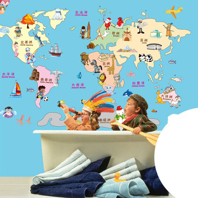 New Cartoon Colours World Map Wall Stickers For Kids Rooms Home - World map poster colour in