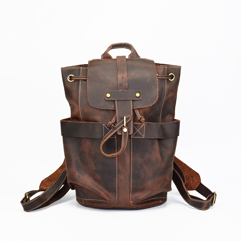 Men's Cowhide Genuine Leather Backpack Crazy Horse 14 inch Laptop Hand Bag Casual Large Capacity Travel Tote men genuine leather high capacity backpack travel bag crazy horse leather famous brand fashion 14 inch notebook bag j50