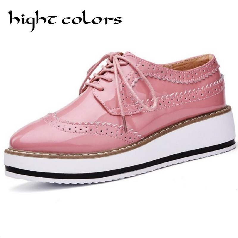 Brand Female Pink Footwear Shoes For Women Creepers Platform Oxfords Brogue Flats Shoes Patent Leather Lace Up Pointed Toe Flat bling patent leather oxfords 2017 wedges gold silver platform shoes woman casual creepers pink high heels high quality hds59
