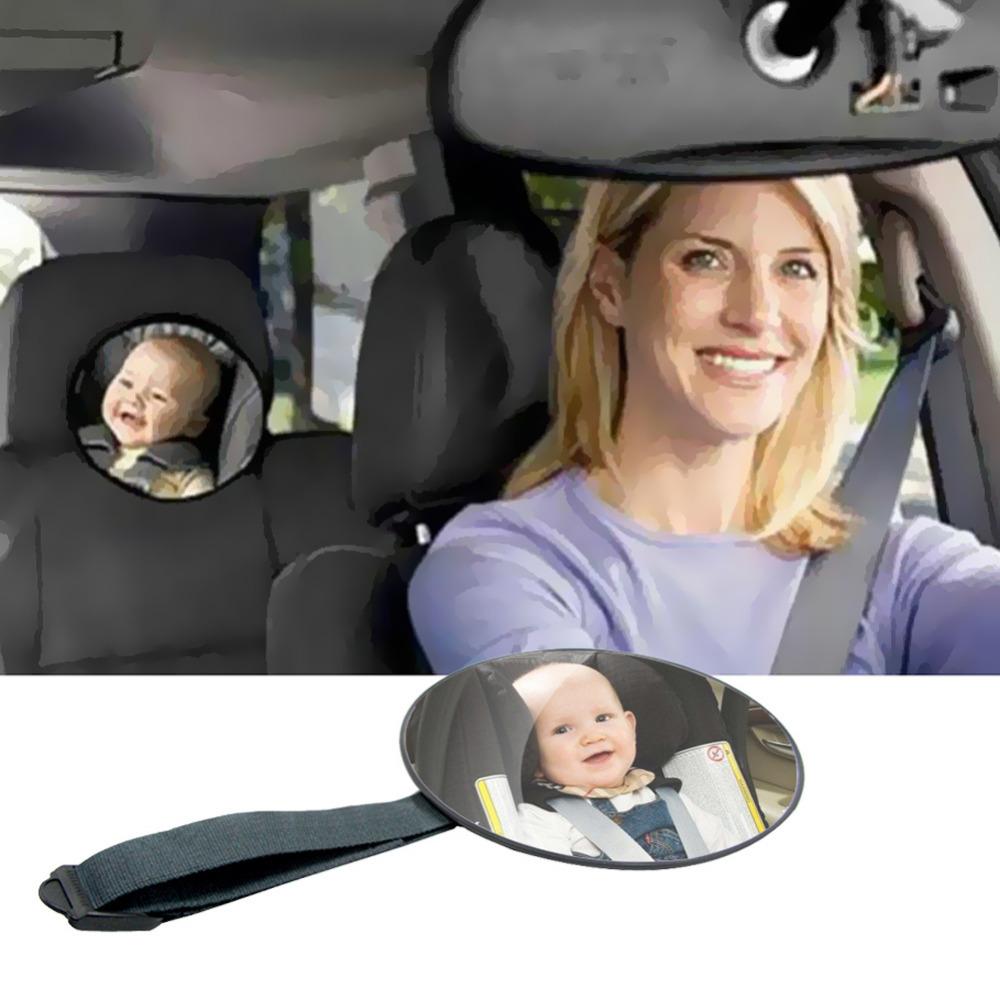 Car Safety Mirror Baby Car Mirror Facing Rearward View Headrest Mount Round Infant Children Kids Car Monitor Car Accessories