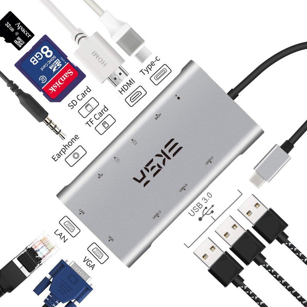EKSA USB Type C Hub à HDMI/RJ45 Gigabit Ethernet/VGA/Lecteur de Carte/Thunderbolt 3 Adaptateur pour Macbook Huawei P20 Pro USB 3.0 HUB