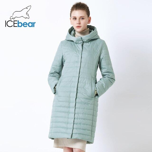 ICEbear 2019 новая женская куртка Высококачественная женская куртка с капюшоном Ветрозащитная теплая одежда из хлопка Однобортная женская куртка средней длины GWC19067I