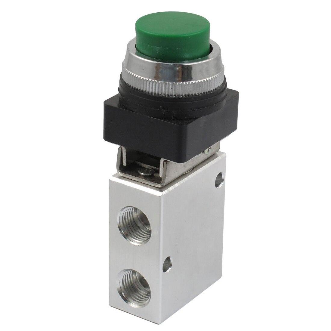 JM-322PPL 13mm Thread 2 Position 3 Way Green Push Button Air Mechanical Valve air conditioner part 3 way valve 1 4npt thread single manifold gauge 220psi