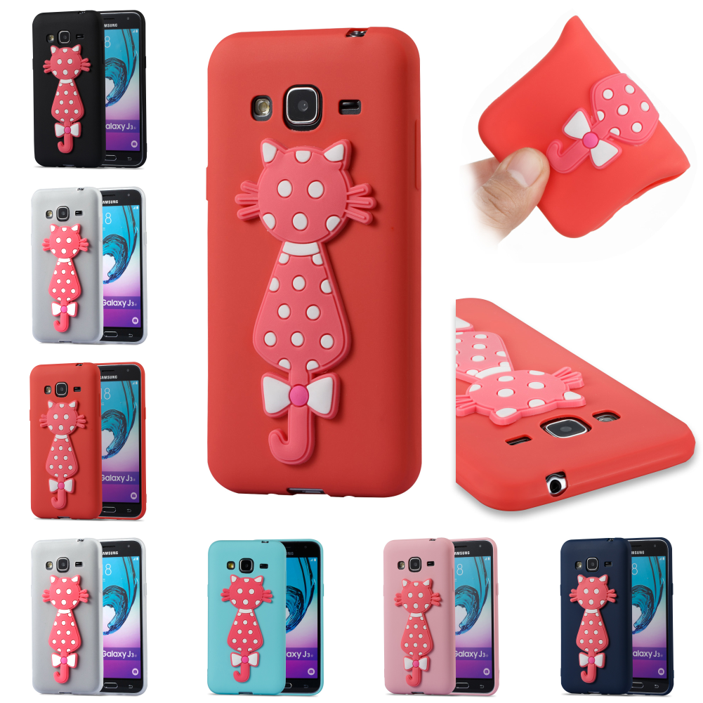 Cartoon TPU Cute 3D Cat Silicone Kryty Shell Phone Case Bag Cover For Samsung Sumsung Galaxy Galax J3 2016 j 310