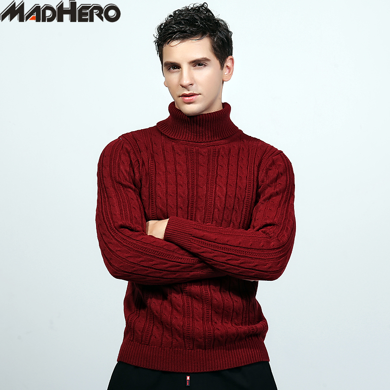 MADHERO Top Quality Mens Acrylic Jacquard Sweaters Warm Winter Solid Soft Casual Jumper Pullovers Snow Christmas Sweater Men ...