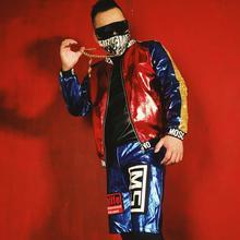 Новое сценическое платье бейсбольная куртка для мужчин парикмахер ночной клуб певец DJ личность синий и красный золото шить ПУ верхняя одежда