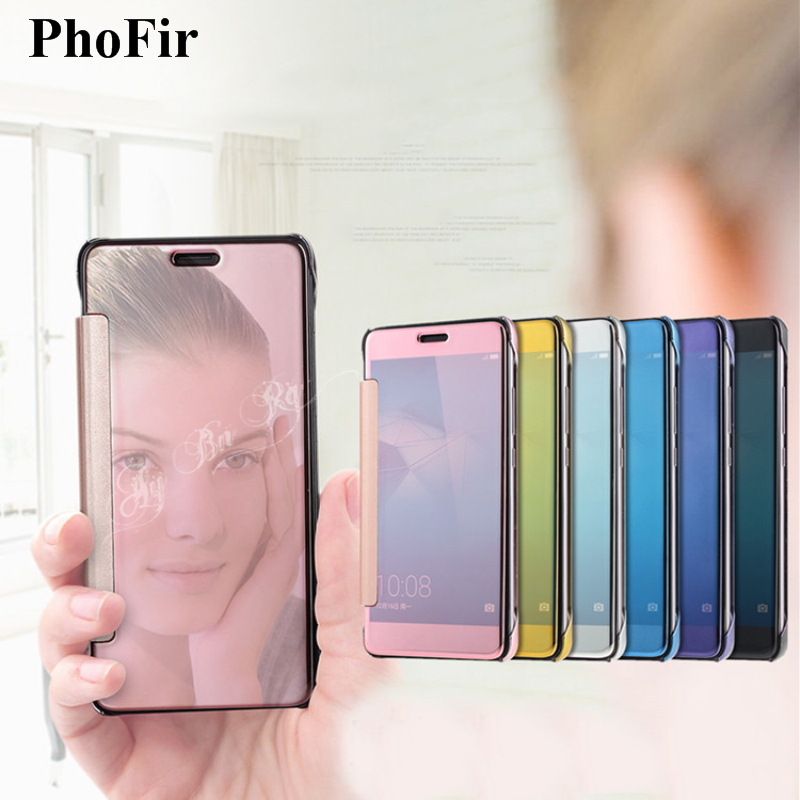 PhoFir Smart Clear View Flip Mirror Case For HuaWei Mate 10 9 8 7 P10 Plus P9 P8 Lite 2017 Honor G8 Plating Plastic Cover