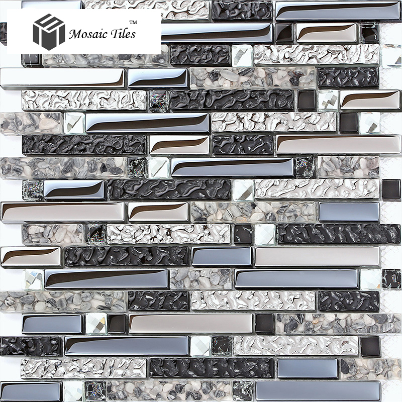 TST Glossy ChipsTile Black Blue Glass Mosaic Backsplash Ideas ...