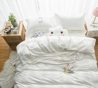Naturelife綿寝具セット4ピースクイーンサイズ白プリントシーツ枕カバー布団カバーベッドセット寝具が蓮葉