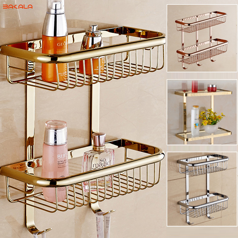 Free Shipping BAKALA Brass Bathroom Shelves With Robe Hook 2-Tier Bathroom Storage Basket Wall Mount Bathroom Shelf BR-6 black bathroom shelves stainless steel 2 tier square shelf shower caddy storage shampoo basket kitchen corner shampoo holder