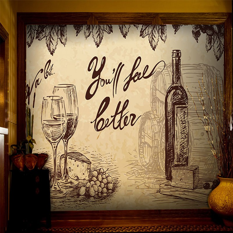 wallpaper for walls 3 d Bar restaurant background decoration ...