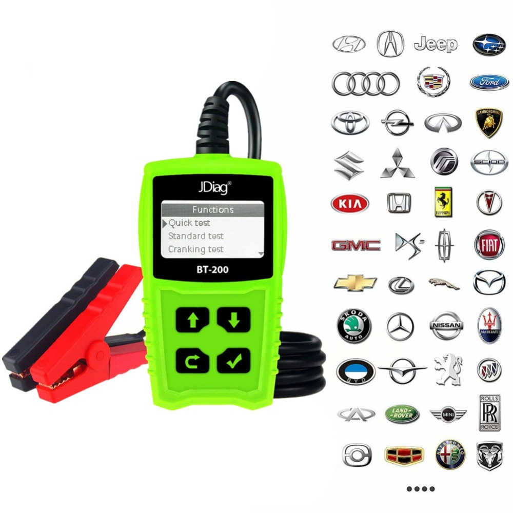 JDiag BT200 Car Battery Tester Multi-language 12V 1100CCA Battery System Detect Automotive