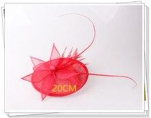 16 colores Elegante fascinators sinamay con plumas de flores para el pelo de la boda accesorios nupciales sombreros headwear partido OF1540