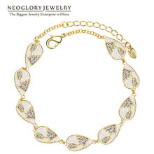 Neoglory Light Yellow Gold Color Czech Rhinestone Simulated Pearl Bracelets  Bangles for Women Water Drop Party Jewelry PE1 QC4 5ac9c7104b9a