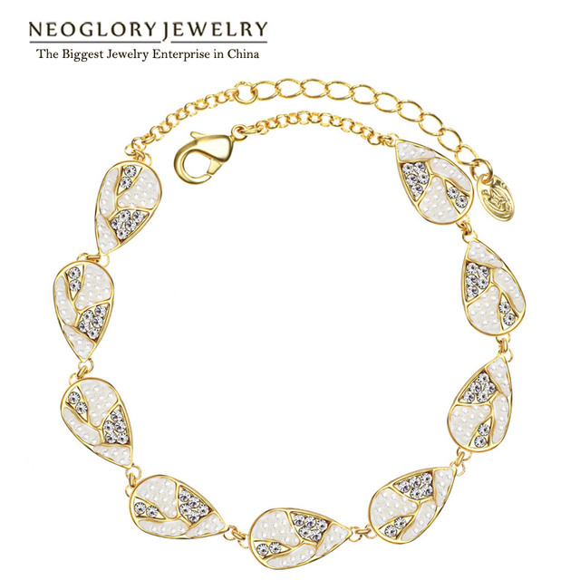 Neoglory Light Yellow Gold Color Czech Rhinestone Simulated Pearl Bracelets  Bangles for Women Water Drop Party f2334317b927