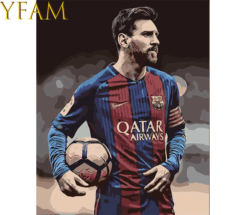 By Numbers Hand DIY Oil HandPainted Painting Coloring Footballer Lionel Messi On Canvas Wall Paints Art Picture Frameless