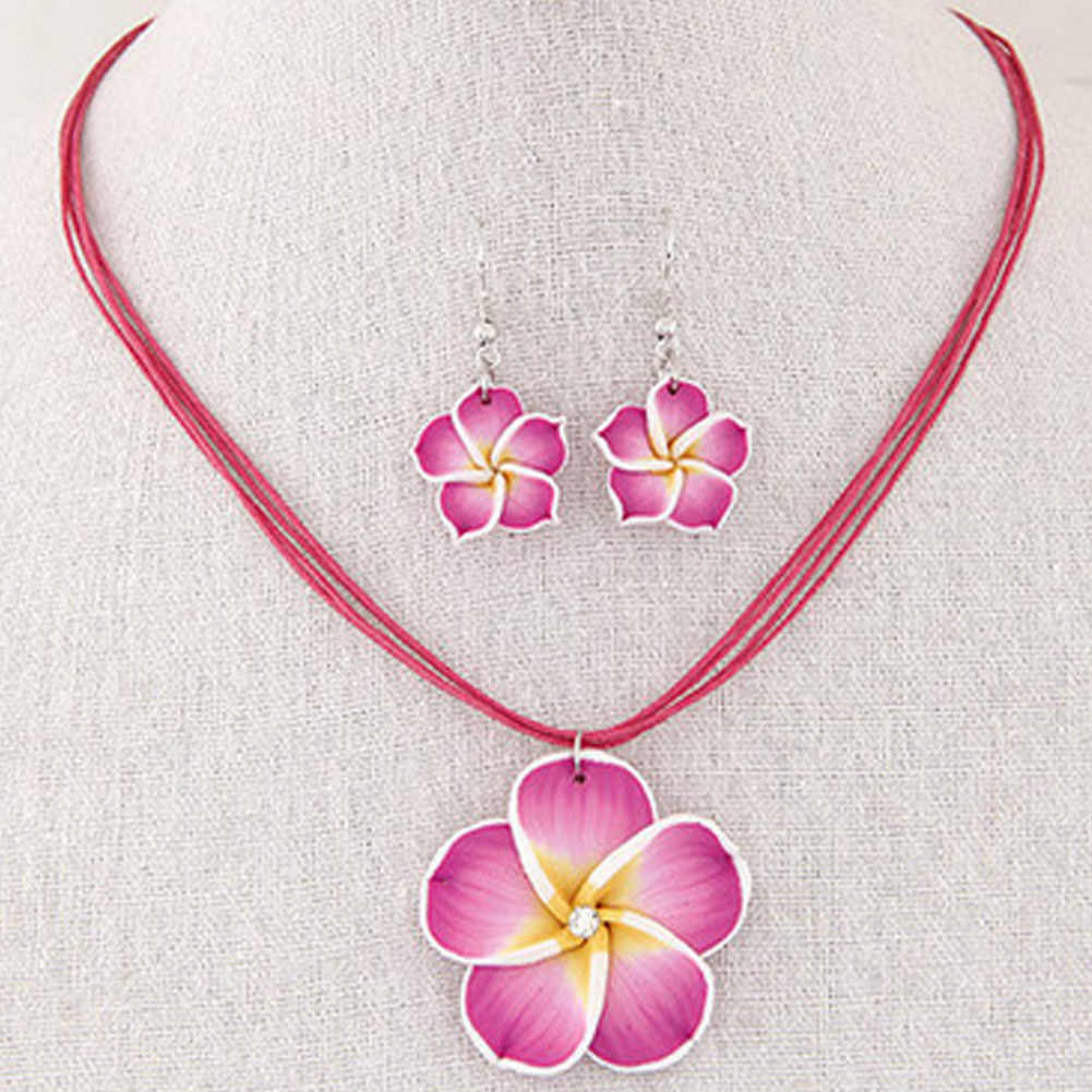 1 Pair New Fashion Hawaii Plumeria Flowers Jewelry Sets  Polymer Clay Earrings Necklace Pendant