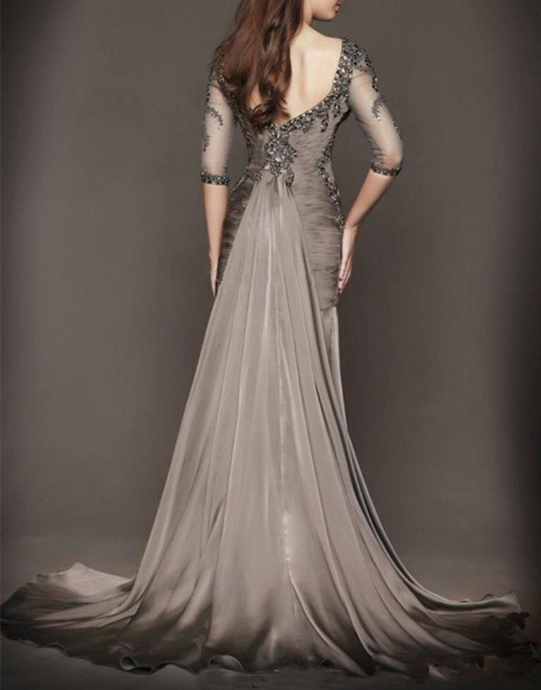 В стиле Русалочки без спины вечернее официальное платье с низким вырезом на спине и прозрачный отделка по горловине с кристаллами для платья для выпускного платья для матери невесты - Цвет: as photo