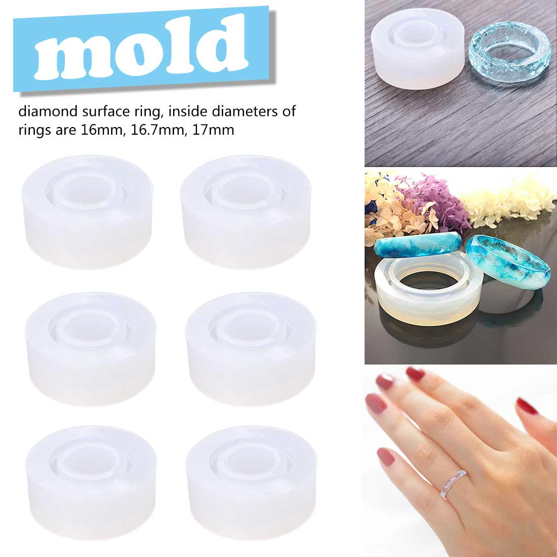 1 Pcs Dried Flower Transparent Silicone Mould Resin Decorative Craft  DIY Epoxy Resin Molds Diamond Shape Ring Mold
