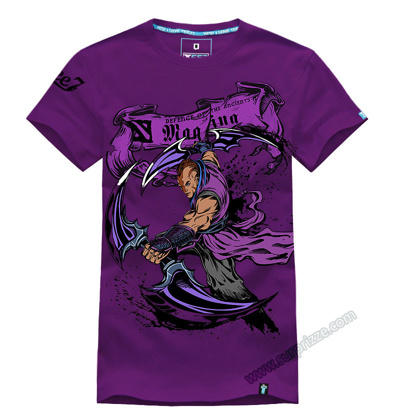 Cool 3D Printing DOTA 2 Anti Mage T shirts Purple Large Size 100% cotton Mens Tees