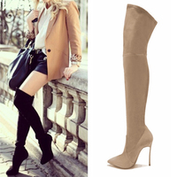 2017 New Spring Fashion Over The Knee Boots Breathable PU Women Boots Shoes Woman High Heels