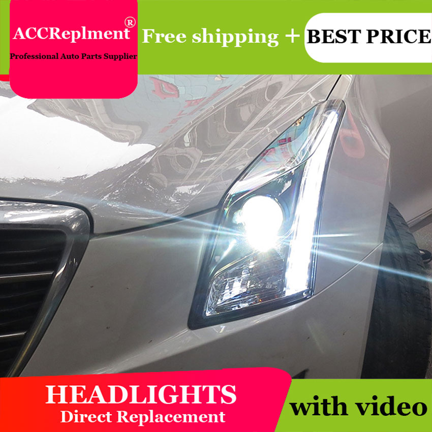 Car Styling LED Head Lamp for Cadillac ATSL headlights 2014 2016 2017 New Cadillac ATSL LED H7 hid Q5 Bi-Xenon Lens low beam car styling for cadillac ats headlights for ats led head lamp led front light bi xenon lens xenon hid