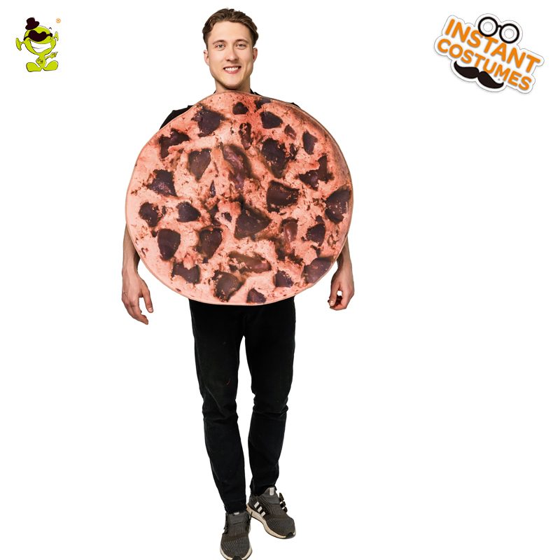2018 New Men's Cookies Costume Adult's Delicious chocolate Cookies Jumpsuit For Men's Carnival Party Role Play Fancy Costumes