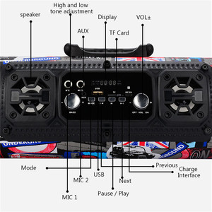 Image 3 - 2018wireless backpack small round speakers bazooka Multimedia speaker  music player Boom box sound system with Fm radio
