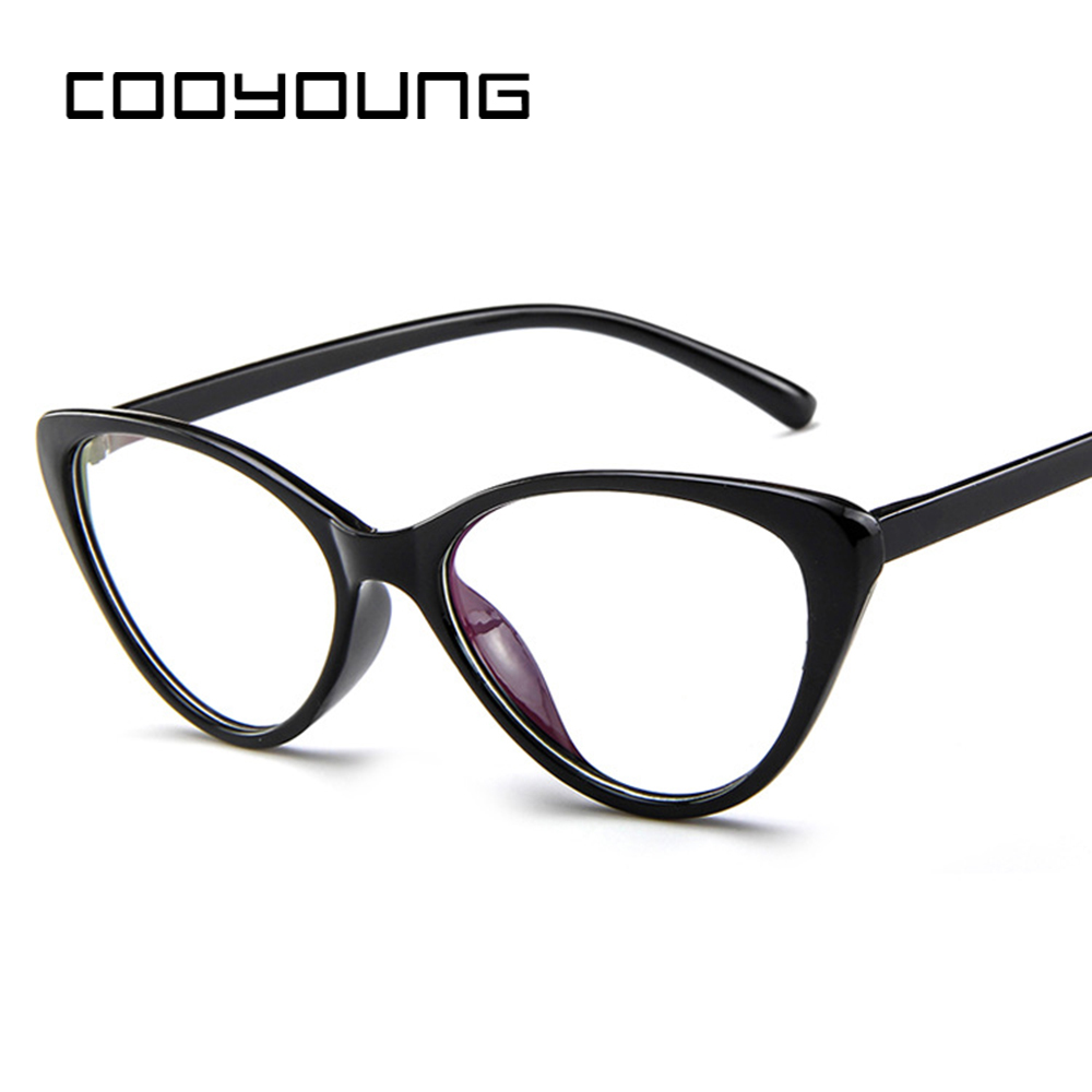 COOYOUNG Hot Cat Eye Fashion Optical Glasses Frame Women Transparent Glasses Spectacle Frame Eyewear