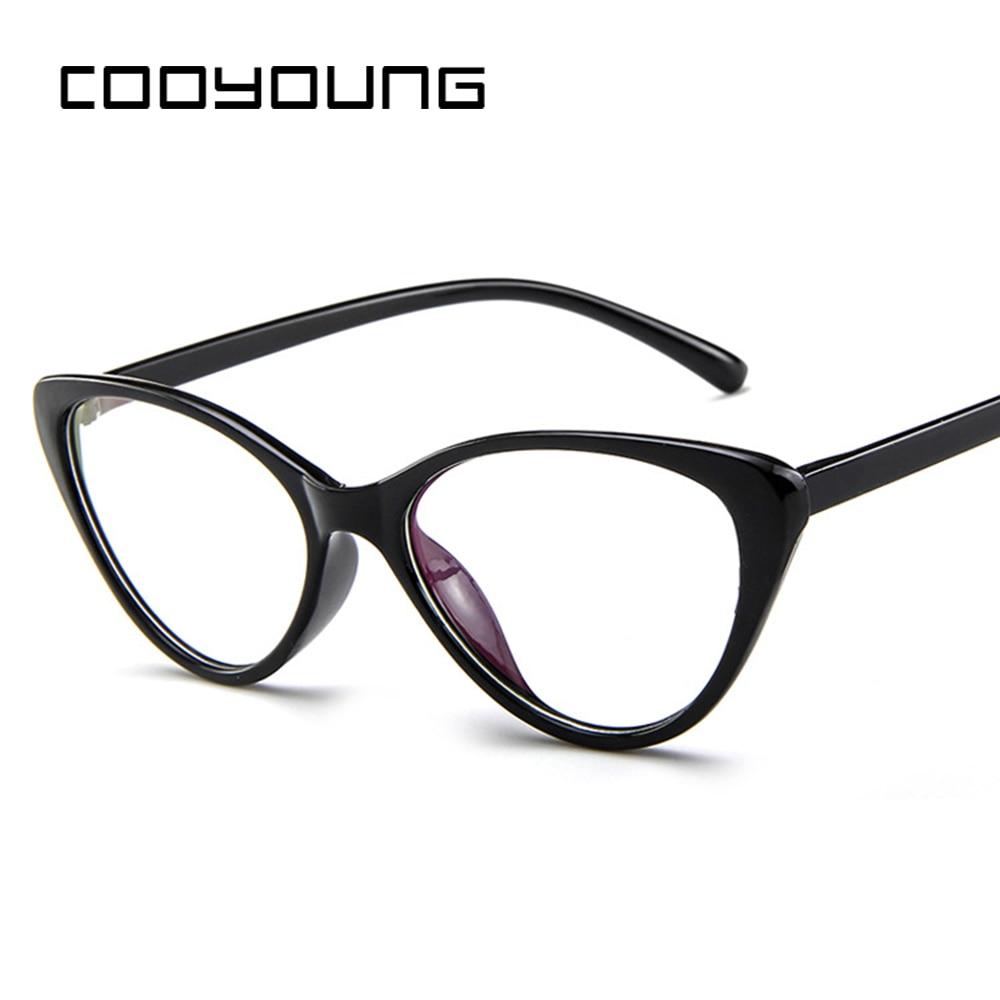 COOYOUNG Hot Cat Eye Fashion Optical Glasses Frame Women Transparent Glasses Spectacle Frame Eyewear