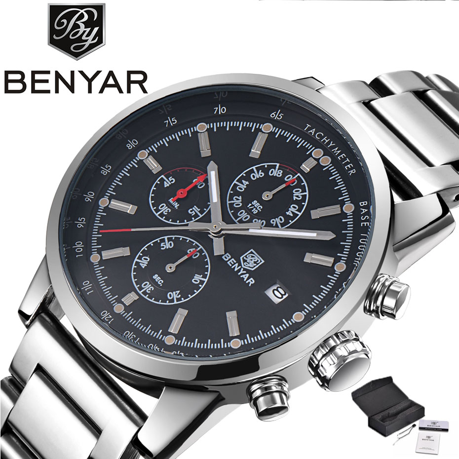 BENYAR Chronograph Top Luxury Brand Men Watches Pilot Business Date Display Full Stainless Steel Military Wristwatch