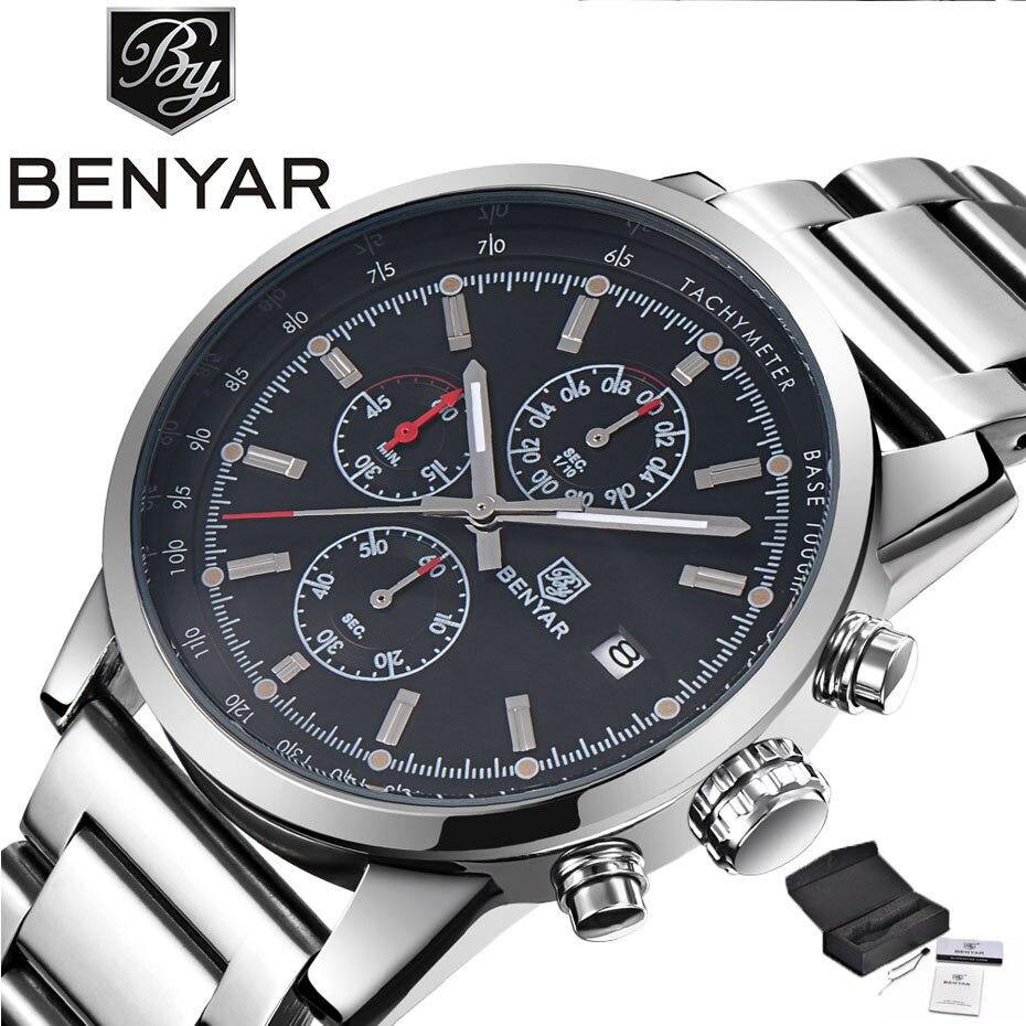 BENYAR クロノグラフ最高高級ブランド男性腕時計パイロットビジネス日付表示フルステンレス鋼ミリタリー腕時計ギフト (+ ボックス)  グループ上の 腕時計 からの クォーツ時計 の中 1