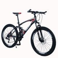 SHANP Mountain Bike Steel Frame Full Suspension Frame Mechanical Disc Brake 24 Speed Shimano 26 Alloy