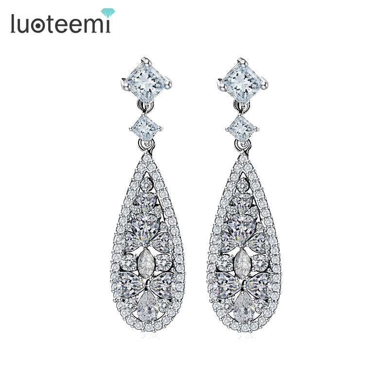 LUOTEEMI Varumärke Hot Selling Lyx Drop Earrings Withe Stones For Women AAA Cubic Zircon Bröllop Bridal Dinner Brincos Smycken