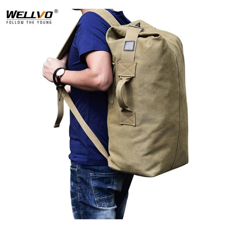Men's Military Canvas Backpacks Multi-purpose Bucket Shaped Shoulder Bags Men Army Bag Tourist Foldable Large Travel Bag XA1934C