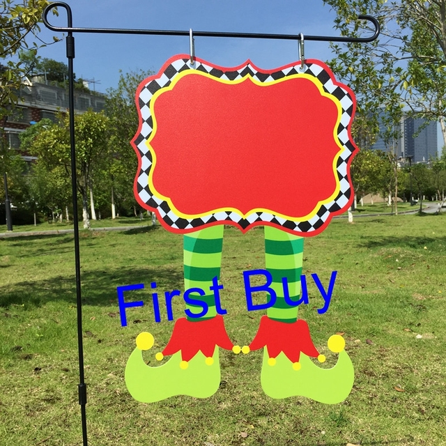 30pcs/lot Christmas elf decorative yard flags 4 styles X mas elf ...