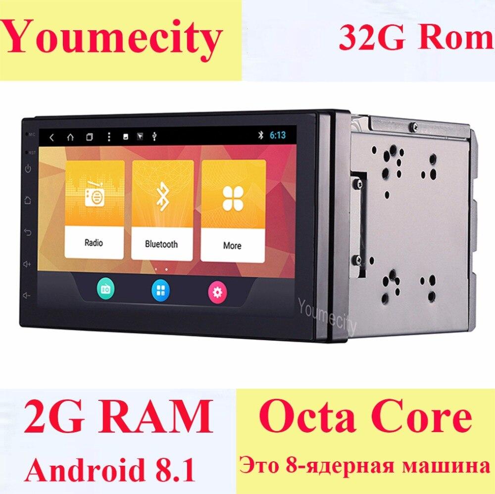 Youmecity! 2g RAM Octa core 2 din android 8.1 New universal Radio Double Lecteur DVD de Voiture GPS Navigation Au tableau de bord PC Stéréo vidéo