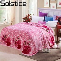 Solstlce Beddings High Quality Warm And Comfortable Pink Flower Coral Cashmere Blankets Single Bed Double Bed