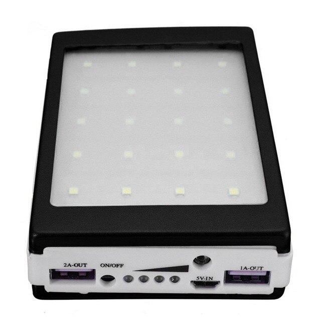 5V 2A Solar LED Portable Dual USB Power Bank 5x18650 External Battery Charger DIY Box 3
