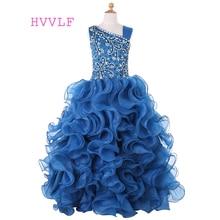 Пышные платья для девочек на свадьбу; бальное платье из органзы с оборками и бисером; Платья с цветочным узором для маленьких девочек