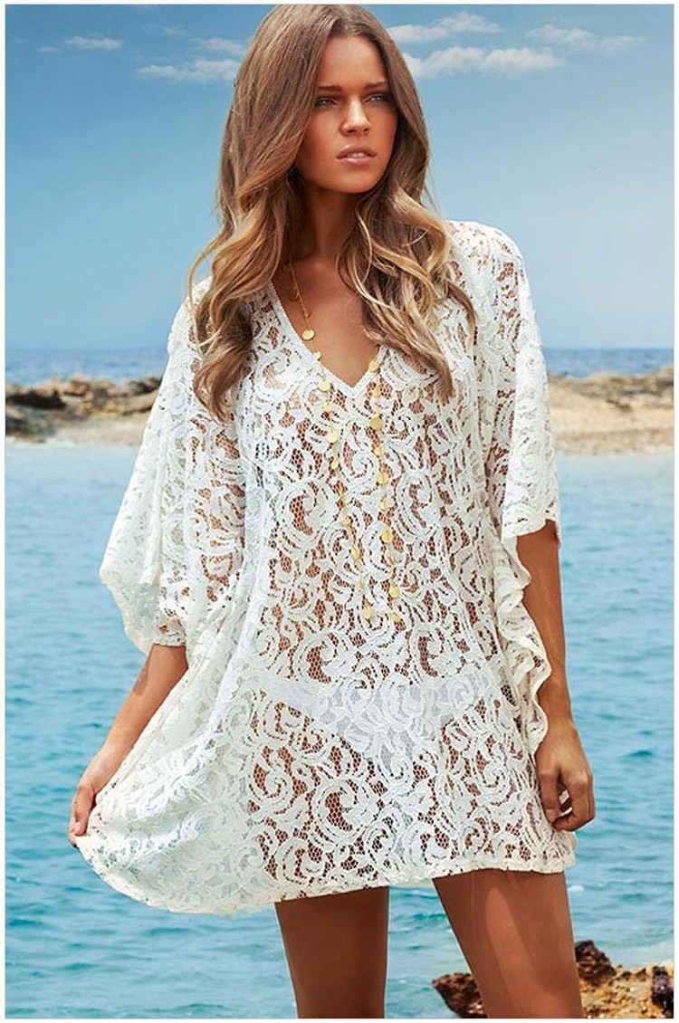 summer style 2015 new sexy women bikini cover up causal lace white robe white dress beach cover. Black Bedroom Furniture Sets. Home Design Ideas