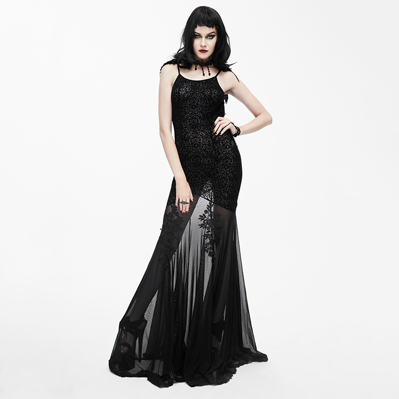 EVA LADY Gothic Black Sexy Backless O Neck Silk Women Dress Fashion Party Prom Gorgeous Evening Party Floor length Dresses