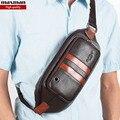 2015 nueva llegada famosa marca de cuero genuino bolsas paquetes de la cintura para hombre bolsas de tórax fanny packs para hombre zurriago pequeñas bolsas de mensajero