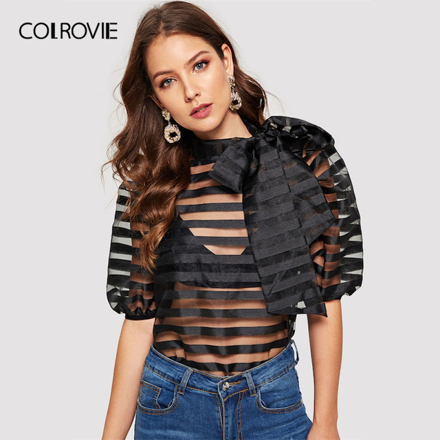 COLROVIE Black Solid Tie Neck Striped Sheer Top Without Bra Women 2019 Spring Fashion Half Puff Sleeve Ladies Elegant Blouse