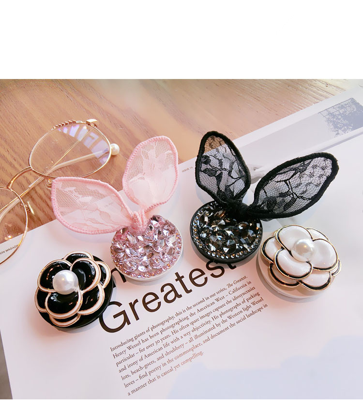 Best Round Mobile Phone Holder Stand Flexible Grip Rhinestone Ear And Flower Expanding Bracket For All Phone Model Back Cover