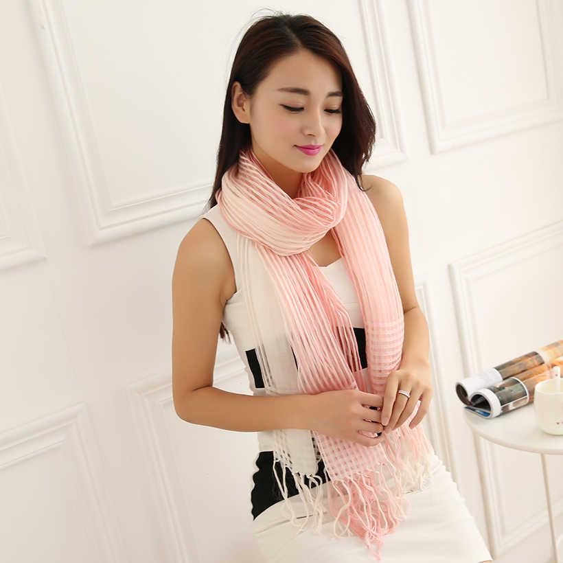 Bufanda sólida para mujer primavera pashmina a cuadros nueva seda de estambre de marca de lujo manta de rayón chal Rosa bufanda sólida para mujer