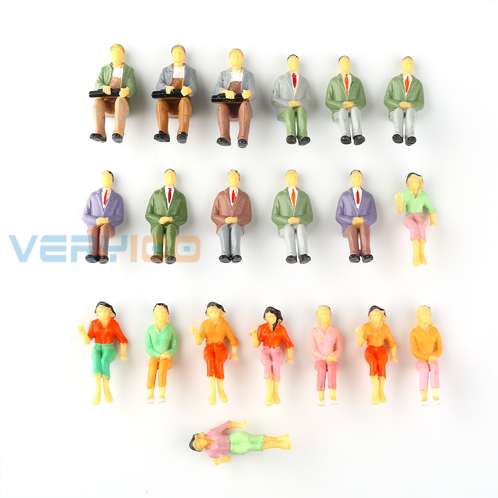 20pcs 1:25 G Scale Painted People Figures Seated Train Bus Passengers Mini Mode