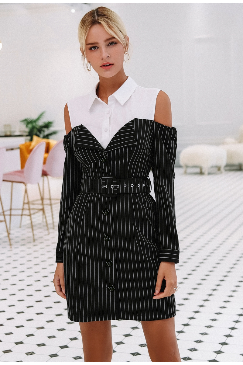 Simplee Elegant fake two piece stripe women dress Office lady sash long sleeve mini dress 18 Autumn winter blazer blouse dress 4